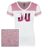 Ladies White/Heathered Pink Juniors Varsity V Neck Tee-JU Foil