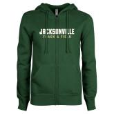 ENZA Ladies Dark Green Fleece Full Zip Hoodie-Track and Field