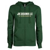 ENZA Ladies Dark Green Fleece Full Zip Hoodie-Cheerleading