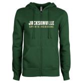 ENZA Ladies Dark Green Fleece Full Zip Hoodie-Sport Medicine
