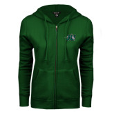 ENZA Ladies Dark Green Fleece Full Zip Hoodie-Official Logo