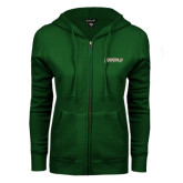 ENZA Ladies Dark Green Fleece Full Zip Hoodie-Jacksonville Dolphins Word Mark