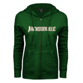 ENZA Ladies Dark Green Fleece Full Zip Hoodie-Jacksonville Word Mark