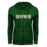 ENZA Ladies Dark Green Fleece Full Zip Hoodie-Dolphins Word Mark