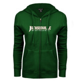 ENZA Ladies Dark Green Fleece Full Zip Hoodie-Beach Volleyball