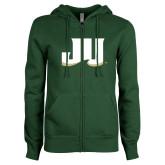ENZA Ladies Dark Green Fleece Full Zip Hoodie-JU