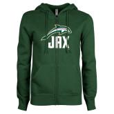 ENZA Ladies Dark Green Fleece Full Zip Hoodie-Dolphin JAX