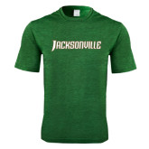 Performance Dark Green Heather Contender Tee-Jacksonville Word Mark