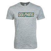 Next Level SoftStyle Heather Grey T Shirt-Dolphins Word Mark