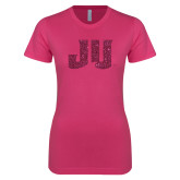 Ladies SoftStyle Junior Fitted Fuchsia Tee-JU Hot Pink Glitter