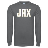 Charcoal Long Sleeve T Shirt-JAX Wordmark