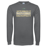 Charcoal Long Sleeve T Shirt-Block Distressed