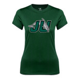 Ladies Syntrel Performance Dark Green Tee-Official Logo