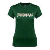 Ladies Performance Dark Green Tee-Jacksonville Dolphins Word Mark