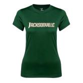 Ladies Performance Dark Green Tee-Jacksonville Word Mark