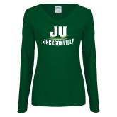 Ladies Dark Green Long Sleeve V Neck Tee-Primary Logo