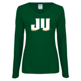 Ladies Dark Green Long Sleeve V Neck Tee-JU