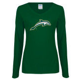 Ladies Dark Green Long Sleeve V Neck Tee-Dolphin