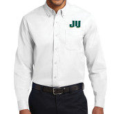 White Twill Button Down Long Sleeve-JU
