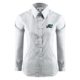 Ladies Red House White Long Sleeve Shirt-Official Logo