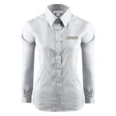 Ladies Red House White Long Sleeve Shirt-Jacksonville Word Mark