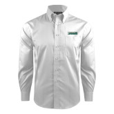 Red House White Dobby Long Sleeve Shirt-Jacksonville Dolphins Word Mark
