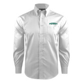 Red House White Dobby Long Sleeve Shirt-Jacksonville Dolphins Arched