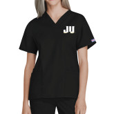 Ladies Black Two Pocket V Neck Scrub Top-JU