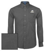 Mens Dark Charcoal Crosshatch Poplin Long Sleeve Shirt-Primary Logo