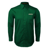 Dark Green Twill Button Down Long Sleeve-Jacksonville Dolphins Word Mark