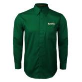 Dark Green Twill Button Down Long Sleeve-Jacksonville Dolphins Word Mark