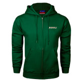Dark Green Fleece Full Zip Hood-Jacksonville Dolphins Word Mark
