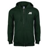 Dark Green Fleece Full Zip Hoodie-JU