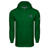 Under Armour Dark Green Performance Sweats Team Hood-Official Logo