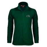 Ladies Fleece Full Zip Dark Green Jacket-Official Logo