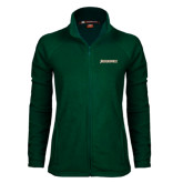 Ladies Fleece Full Zip Dark Green Jacket-Jacksonville Word Mark