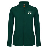 Ladies Fleece Full Zip Dark Green Jacket-JU