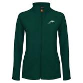 Ladies Fleece Full Zip Dark Green Jacket-Dolphin