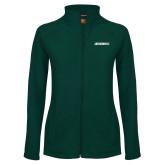 Ladies Fleece Full Zip Dark Green Jacket-Jacksonville Wordmark