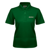 Ladies Dark Green Dry Mesh Polo-Jacksonville Dolphins Word Mark