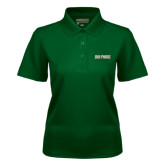 Ladies Dark Green Dry Mesh Polo-Dolphins Word Mark