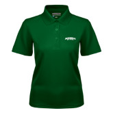 Ladies Dark Green Dry Mesh Polo-Jacksonville Dolphins Arched