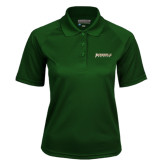 Ladies Dark Green Textured Saddle Shoulder Polo-Jacksonville Dolphins Word Mark