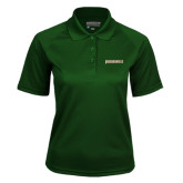 Ladies Dark Green Textured Saddle Shoulder Polo-Jacksonville Word Mark