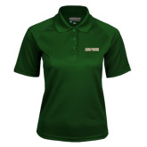 Ladies Dark Green Textured Saddle Shoulder Polo-Dolphins Word Mark