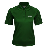 Ladies Dark Green Textured Saddle Shoulder Polo-Jacksonville Dolphins Arched