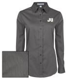 Ladies Grey Tonal Pattern Long Sleeve Shirt-JU