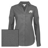 Ladies Red House Diamond Dobby Charcoal Long Sleeve Shirt-JU
