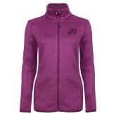 Dark Pink Heather Ladies Fleece Jacket-JU