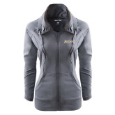 Ladies Sport Wick Stretch Full Zip Charcoal Jacket-Jacksonville Dolphins Word Mark
